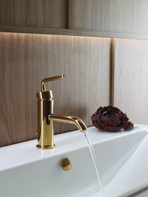 Polished Chrome KOHLER K-14402-4A-CP Purist Single Control Lavatory Faucet with Straight Lever Handle